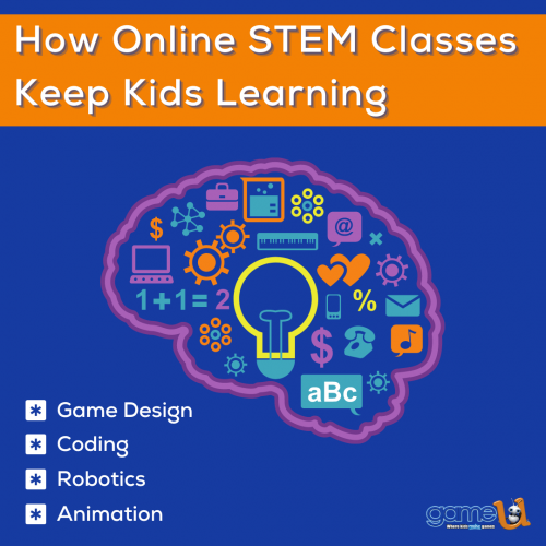 Game-U offers online STEM classes in video game design, coding, digital art, animation, robotics, and 3D modeling for kids ages 6 and up